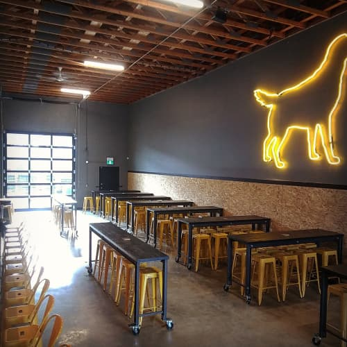Tables by Vancouver Reclaimed seen at Yellow Dog Brewing Co, Port Moody - Industrial Tables