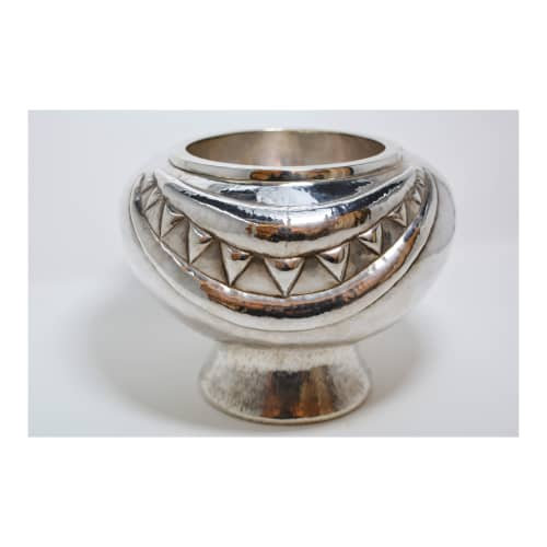 Silver Vase w/ Moon and Triangles   Vases & Vessels by Graziella Laffi