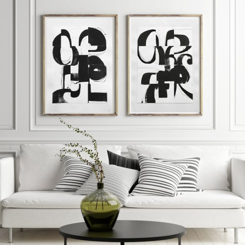 Black and White Collage Series | Paintings by TS ModernArt Studio | Private Residence - Manhattan Beach, CA in Manhattan Beach