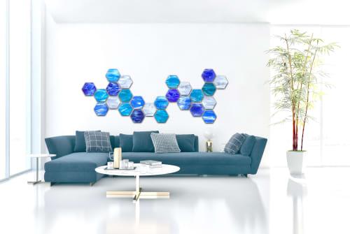 """Water Hex"" Glass Wall Art Sculpture | Sculptures by Karo Studios"