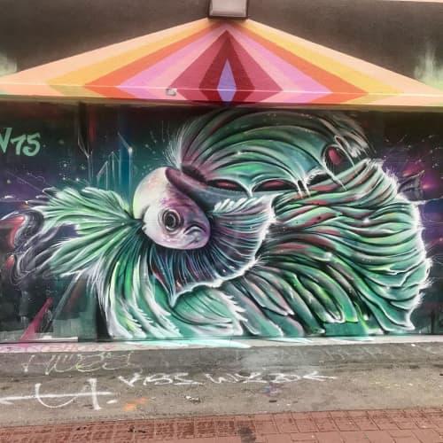 Street Murals by Max Ehrman (Eon75) seen at Cypress Street & 24th Street, San Francisco - Fish Mural