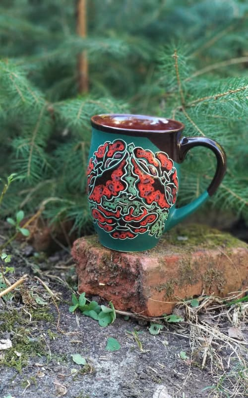 Cups by Cupscho seen at Private Residence, Kharkiv - Pottery coffee (tea) mug  «Poppy Flowers» 16.9 fl oz