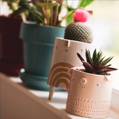 Vases & Vessels by Atelier Stella Ceramics - Mini Pig Pot + Small Rainbow Tripod Pot
