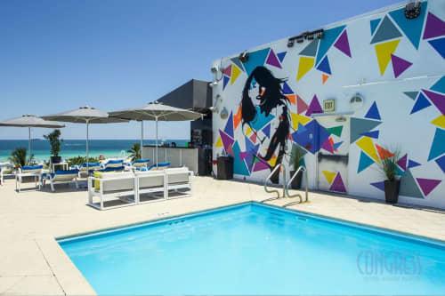 Murals by Rudy Mage seen at Congress Hotel South Beach, Miami Beach - Mural