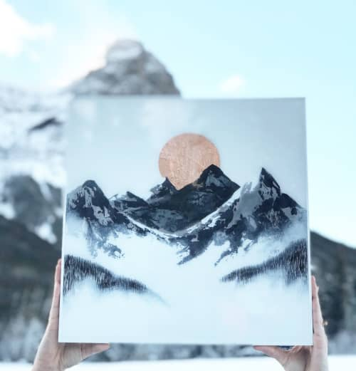 Paintings by Aimy Van der linden seen at Private Residence, Canmore - Early Season- Contemporary Painting