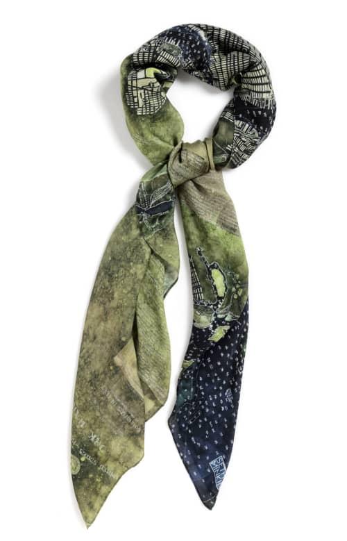 "Apparel & Accessories by Seth B Minkin Fine Art at Seth B Minkin Studio + Showroom, Boston - NY Harbor Green | Square Scarf | 54"" x 54"" | 85% modal . 15% cashmere . 100% original"