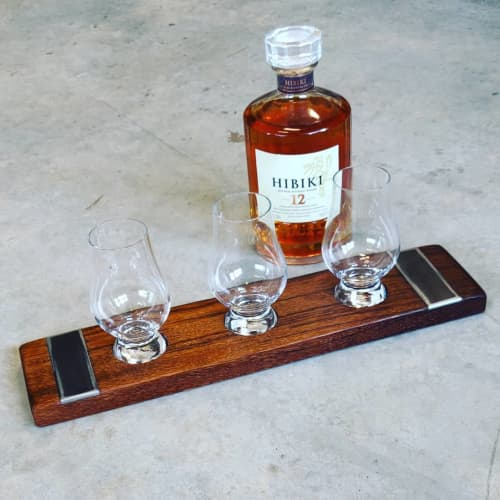 Barrel Oak Whiskey Flights with Embedded Steel Plates | Tableware by Todd Alan Woodcraft | Todd Alan Woodcraft in Vancouver