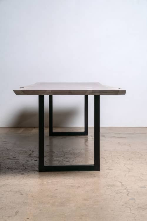 Sunrise Table   Modern Dining Table in White Oak with a Grey Finish   Tables by Alabama Sawyer