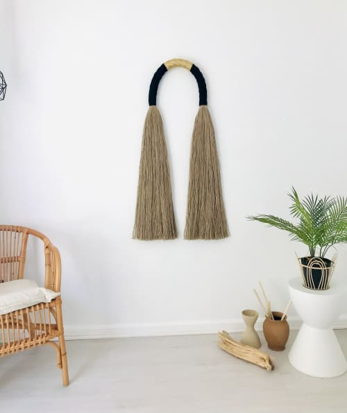 Large Jute Arch with Gold   Macrame Wall Hanging by YASHI DESIGNS