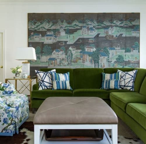Paintings by Lawrence & Scott seen at Private Residence, Charlotte - Chinoiserie 8-panel Blue Village Screen by Lawrence & Scott