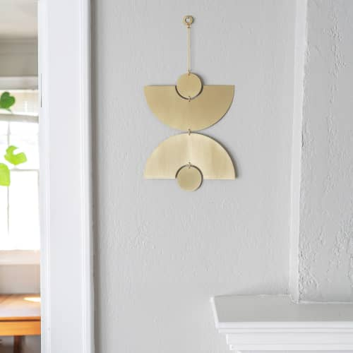 Double Arc Wall Hanging in Polished Brass | Sculptures by Circle & Line