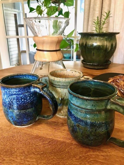Round Bellied Horizon Mugs, Handmade stoneware   Cups by Honey Bee Hill Ceramics