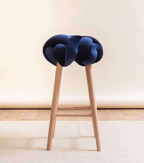 Midnight Blue Velvet Bar Knot Stool   Chairs by Knots Studio