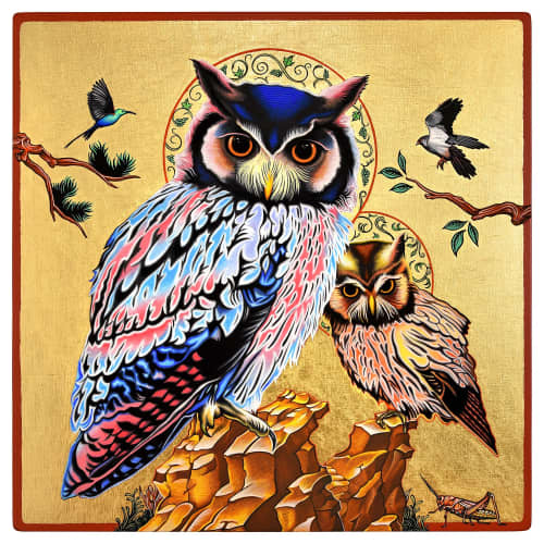 """Paintings by Peter D. Gerakaris Studio seen at Private Residence, Johannesburg - """"White-Faced Owl Icon"""" - Private Commission"""