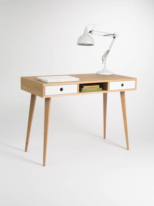 Desk for home, dressing table, bureau, with white drawers | Tables by Mo Woodwork