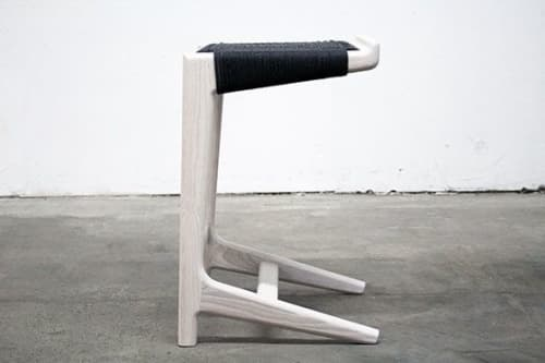 Chairs by Semigood Design seen at Creator's Studio, Issaquah - Rian Cantilever Barstool, Whitewashed with Black Danish Cord