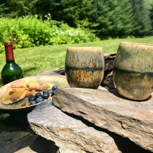 Horizon Stemless Wine cups, 10 oz. | Cups by Honey Bee Hill Ceramics