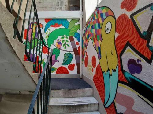 Murals by Melinda Šefčić at Hrvatsko narodno kazalište u Šibeniku, Šibenik - Graffiti Teatro