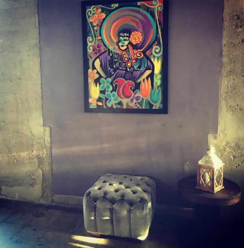 Paintings by Franky Castle Art at El Mercado Modern Cuisine, Santa Ana - Shelly Mar