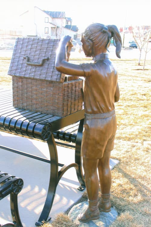 Picnic Girl | Public Sculptures by Don Begg / Studio West Bronze Foundry & Art Gallery