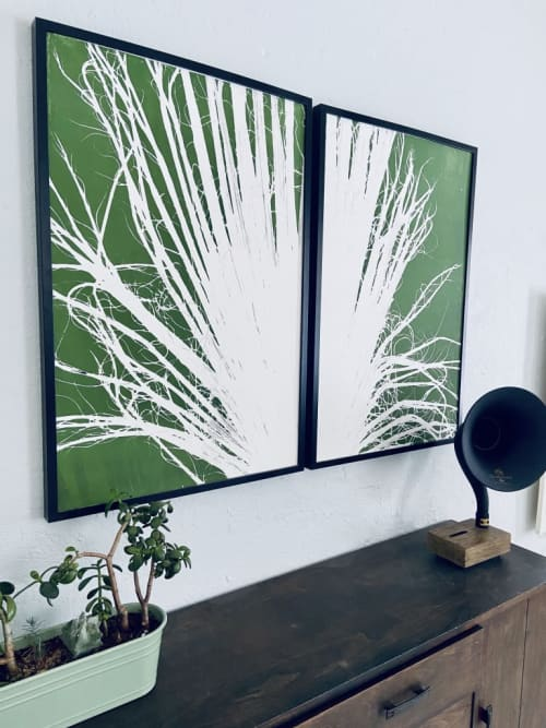 Diptych Palm Frond in Green | Art & Wall Decor by Erik Linton | Kate Chipinski's Home in Minneapolis