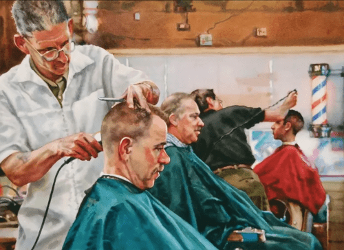 Paintings by Karen Frey seen at Castro Valley Library, Castro Valley - Barbershop
