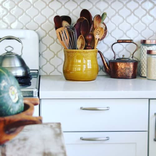 Dot Design Jumbo Utensil Holder in Spicy Mustard Yellow   Interior Design by Back Bay Pottery   Private Residence in Baywood-Los Osos