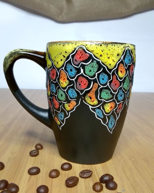 """Cups by Cupscho seen at Private Residence, Kharkiv - Colorful pottery coffee cup """"Colorful stones"""" ornament 13 fl oz"""