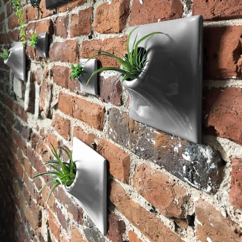 Node 6 Inch Ceramic Wall Planter Living Wall Art | Vases & Vessels by Pandemic Design Studio