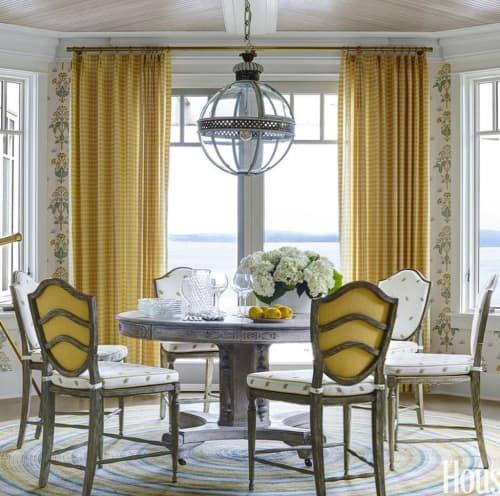 Curtains & Drapes by Chelsea Textiles seen at Private Residence, New York - Handwoven Yellow Checkered Fabric