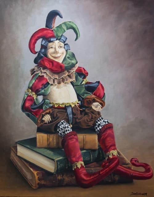 Antique harlequin doll painting   Paintings by Daniela de Castro Sucre