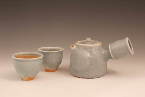 Tableware by Hamish Jackson Pottery seen at Private Residence, Logan - Porcelain Teapot with Wild Granite Celadon Glaze