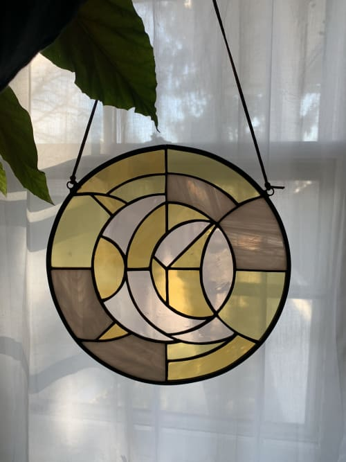 Wall Hangings by Annie Sinton Glass seen at Private Residence, Granogue - Rosy Moon Suncatcher