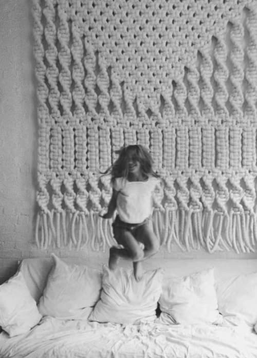 Macrame Wall Hanging by MACRO MACRAME by Maeve Pacheco seen at Private Residence, Los Angeles - GEOMETRIC MACRAME