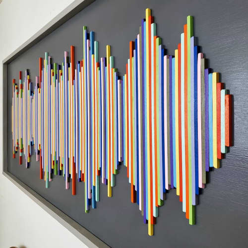 Wall Hangings by Erin Harris seen at Hampton Inn NY-JFK, Queens - Ccolorful Soundwave Wall Hanging
