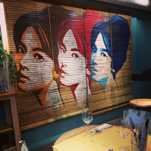 Murals by Cayn Sanchez at KOH-NDAL THAI BISTRO, Barcelona - Thai Ladies
