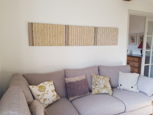 'Transitions Winter', 'Transitions Spring' & 'Transitions Autumn' Woven Panels. Materials: monofilament, enamelled copper, paper yarn, reed, linen, viscose , cotton. | Art & Wall Decor by Jan Bowman Designs