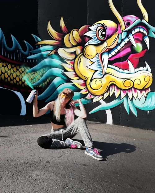 Murals by Beatris Cobo at Siam Mall, Costa Adeje - Dragon Mural