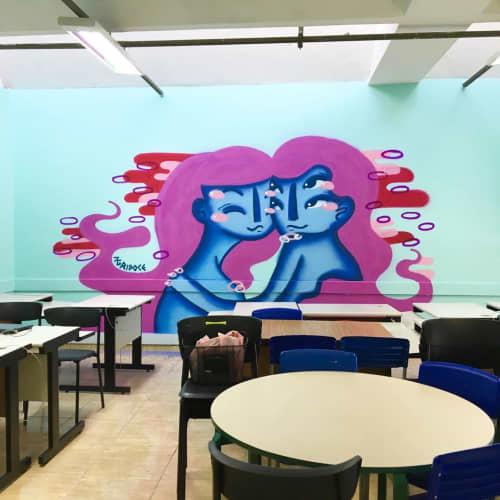 Murals by Agridoce seen at Municipal School Dona Angelina Maffei Vita, Casa Verde Alta - EMEF ANGELINA MAFFEI VITA Indoor Mural