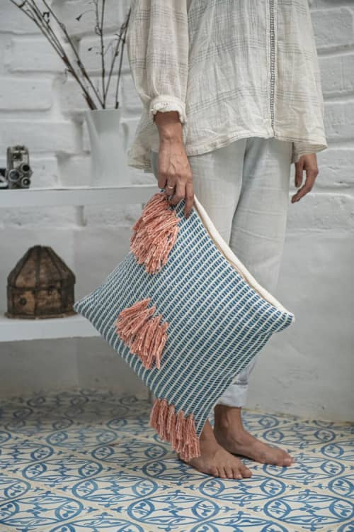 Naidi Blue Pillow with Tassels | Pillows by Zuahaza by Tatiana