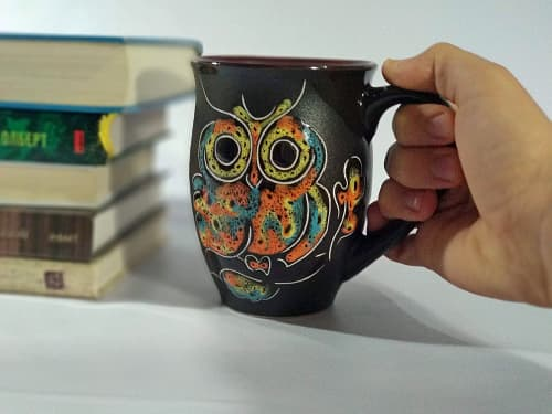 Cups by Cupscho seen at Private Residence, Kharkiv - Pottery coffee (tea) mug «Owl» 16.9 fl oz