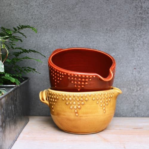 Batter Bowl - Geometric Dot Design - In Spicy Mustard Yellow and Spiced Pumpkin Orange | Utensils by Back Bay Pottery | Private Residence in Baywood-Los Osos