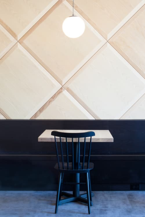 Quilted Wood Wall   Wall Treatments by Trey Jones Studio   Broadcast Coffee in Seattle