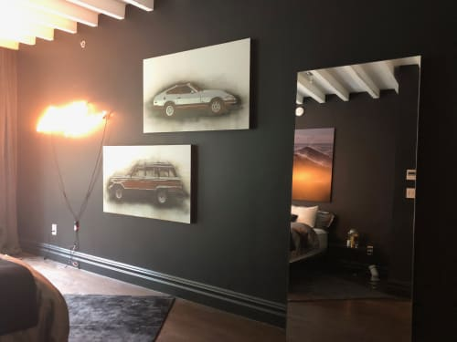 """Paintings by Jeremy Wagner Studio seen at Private Residence, New York - Datsun Z and Wagoneer  (Car series Paintings)2013 Rust, charcoal and enamel on steel panel 28""""x48"""" Rust charcoal and enamel on steel panel 28""""x48"""""""
