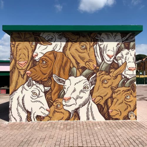 Heap of goats (and a dog) Mural   Murals by Luca Maleonte