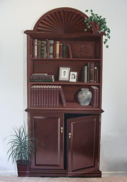 Trompe L'oeil Bookcase | Murals by Sheila Rae Van Delft