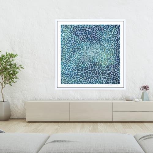 Art & Wall Decor by Seth B Minkin Fine Art at Seth B Minkin Studio + Showroom, Boston - White Circles Deep Ocean | Limited Edition Print | Multiple Sizes Available
