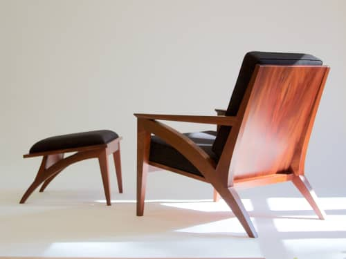 Wise Lounge Chair & Ottoman in Mahogany | Chairs by Eben Blaney Furniture