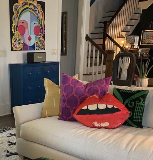 "Pillows by Mommani Threads seen at Private Residence, Statham - GRANDE EMBRASSE MOI 23"" sculpted velvet lips pillow"