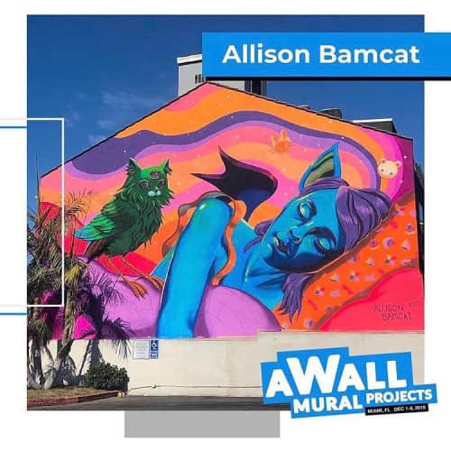 Street Murals by Allison Bamcat seen at Wynwood, Miami - aWall Festival Miami Mural